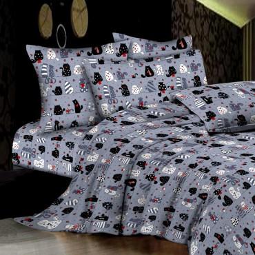 Комплект дитячої постільної білизни Сірі кішки Бязь