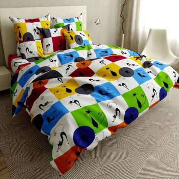Комплект дитячої постільної білизни Різнобарвні котики Бязь