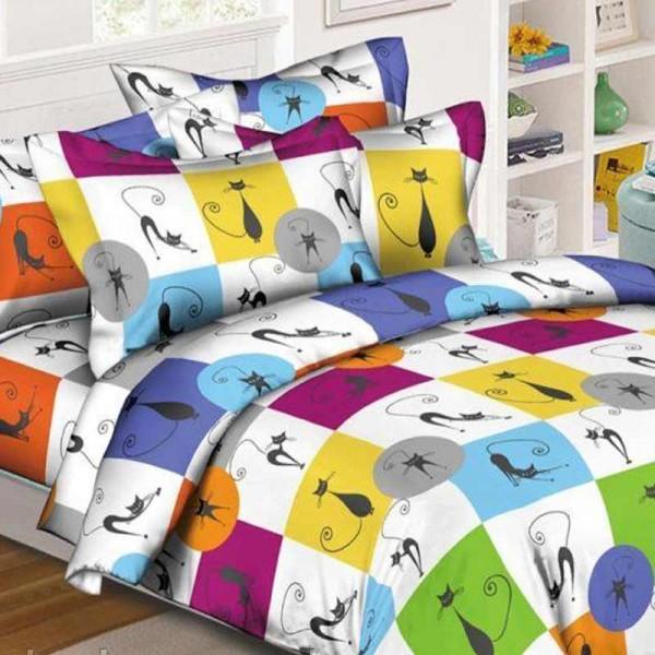 Комплект дитячої постільної білизни Яскраві кішки Ранфорс