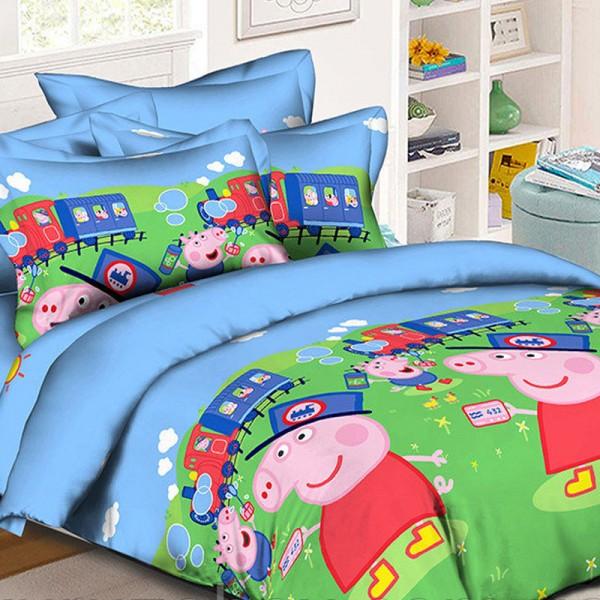 Комплект дитячої постільної білизни Свинка Пеппа та потяг