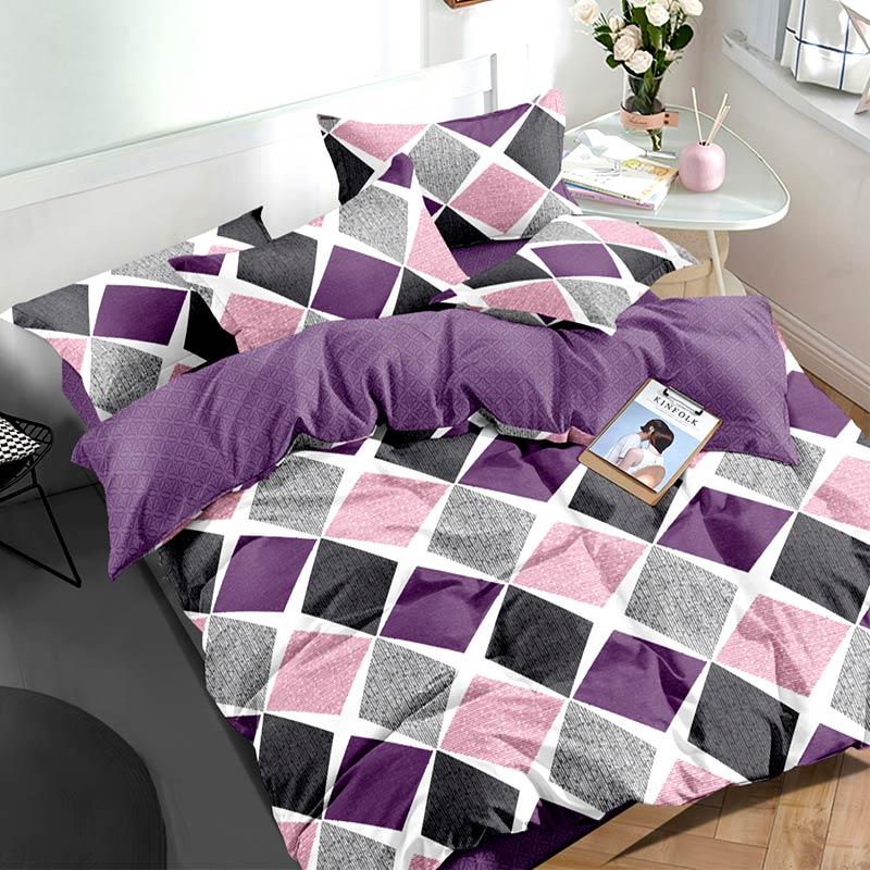 Комплект постільної білизни Фіолетові ромби Сатин