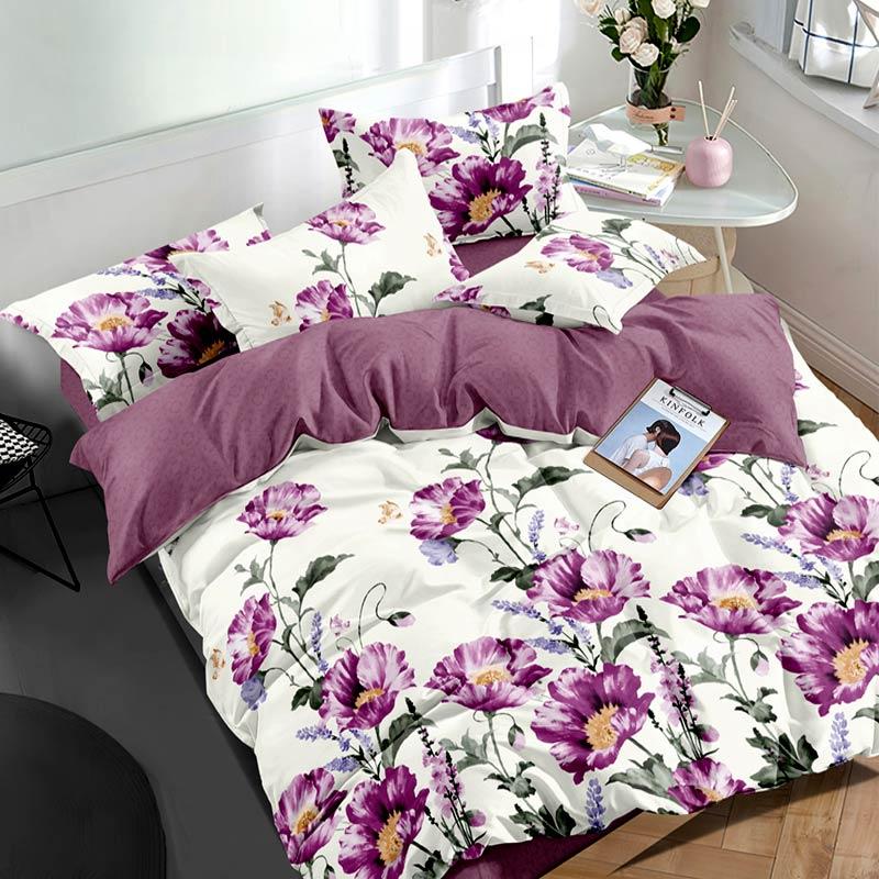 Комплект постільної білизни Фіолетовий букет Сатин